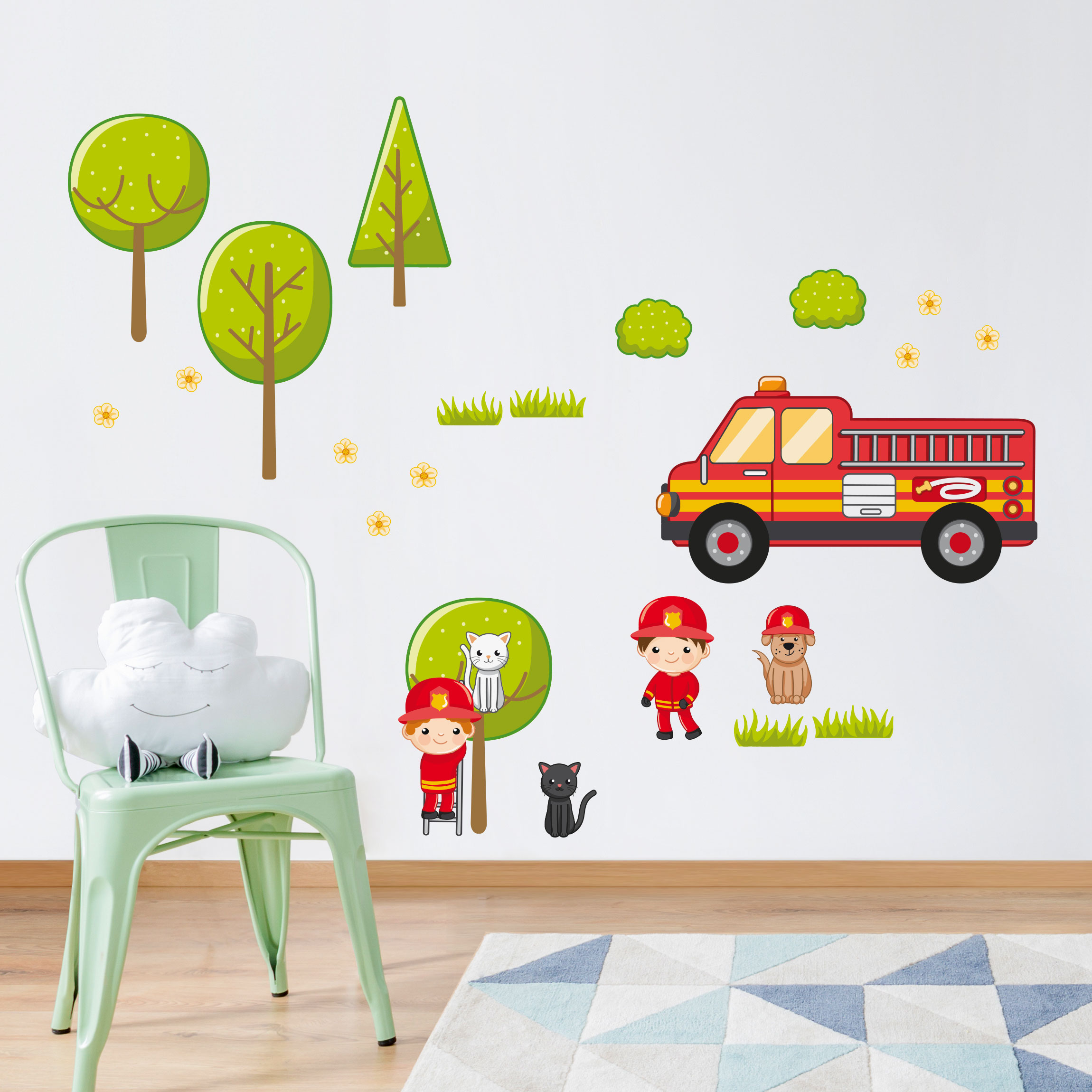 wandtattoo kinderzimmer feuerwehr set mit katzen. Black Bedroom Furniture Sets. Home Design Ideas