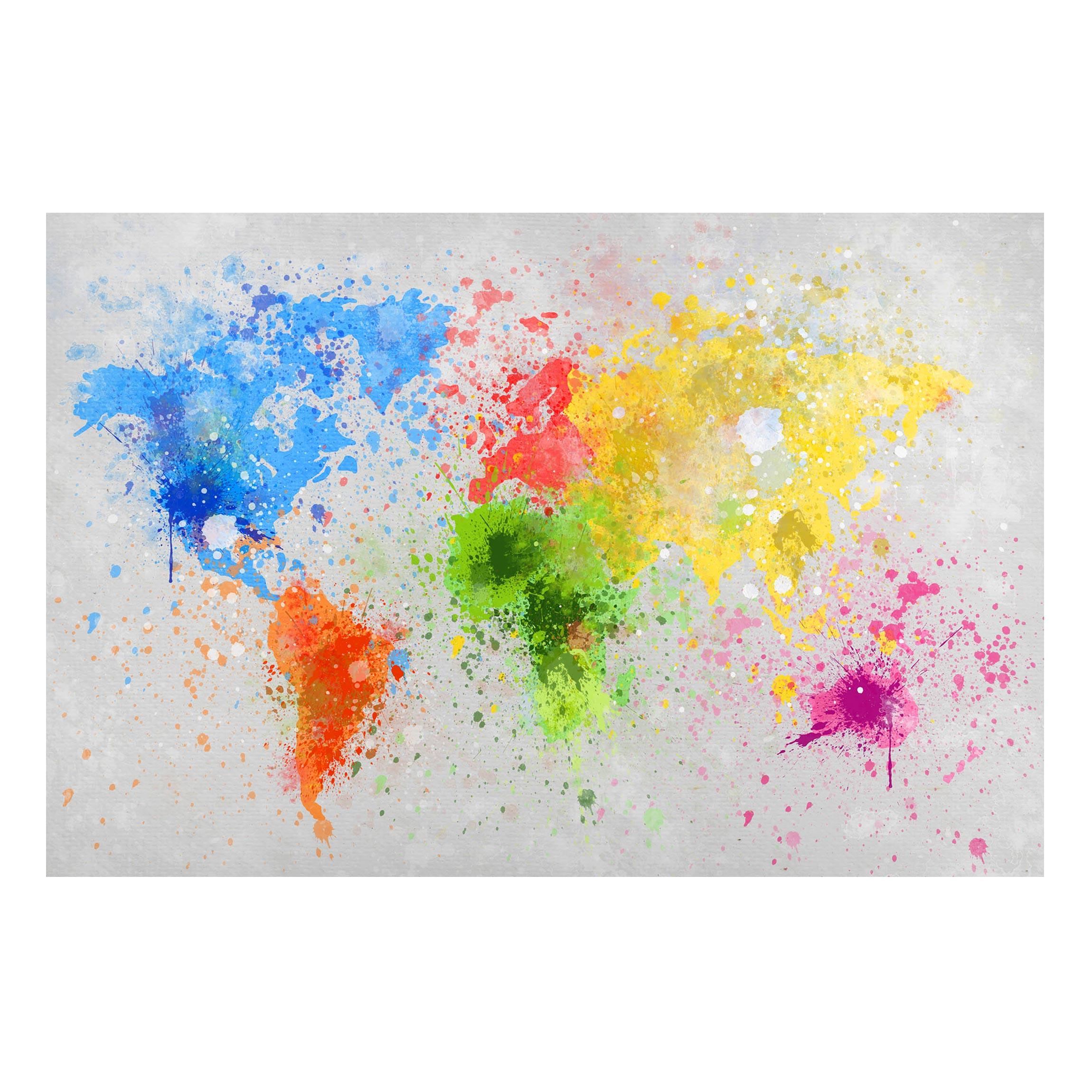 Magnetic Board - Colorful paint splatter world map - Landscape Format 2:3