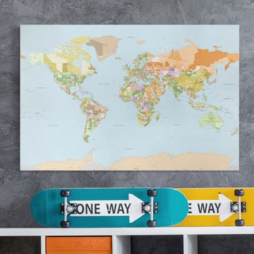Produktfoto Leinwandbild - Politische Weltkarte -...