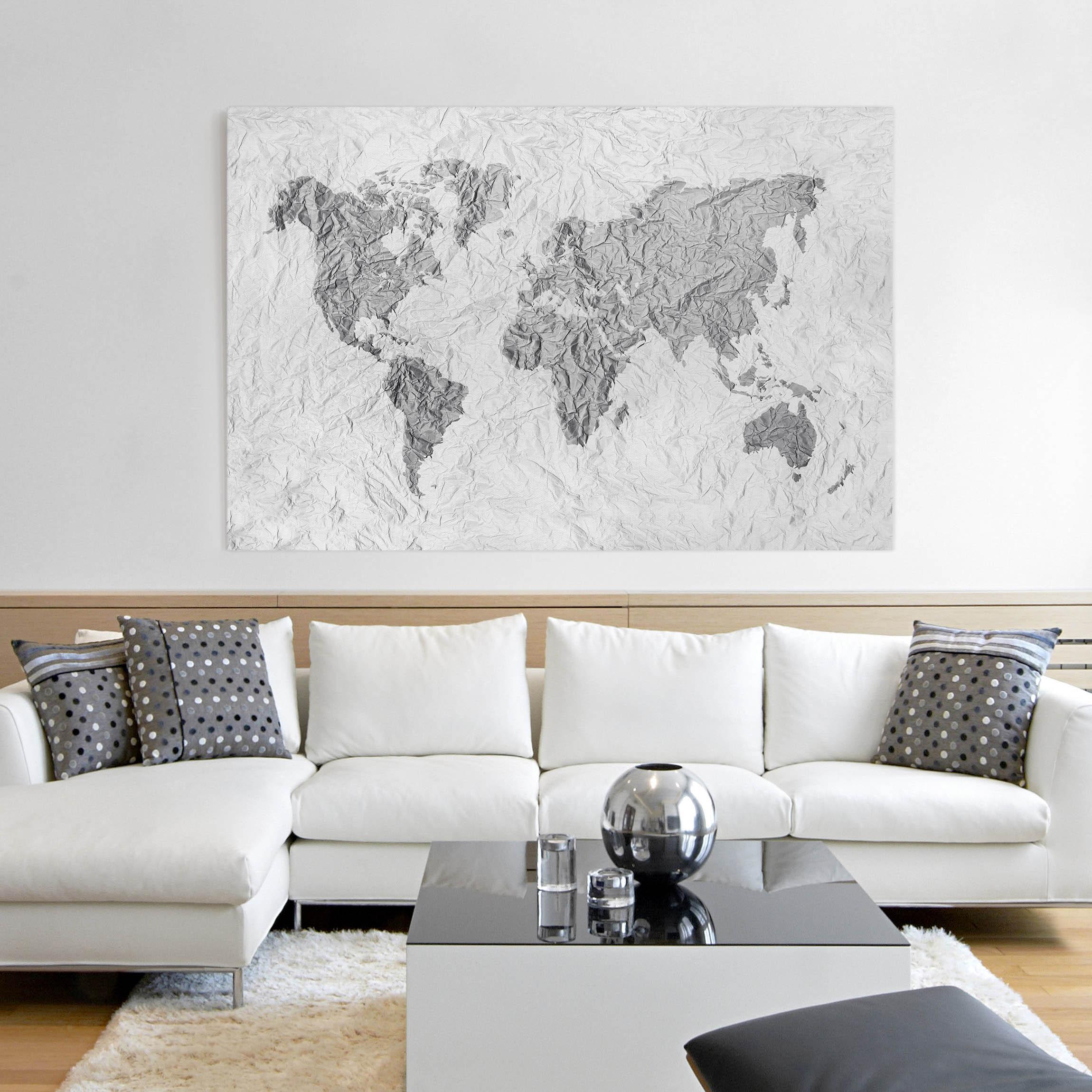 Leinwandbild schwarz wei papier weltkarte wei grau quer 2 3 - Wandbilder grau weiss ...