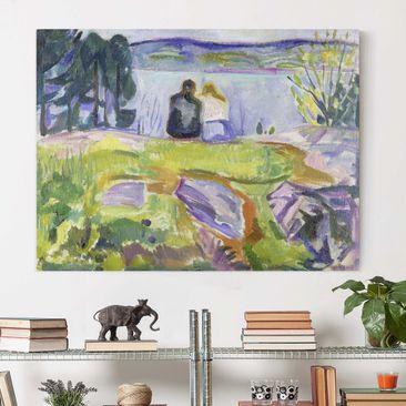 Produktfoto Leinwandbild - Edvard Munch - Frühling (Liebespaar am Ufer) - Quer 3:4, vergrößerte Ansicht in Wohnambiente, Artikelnummer 210645-XWA
