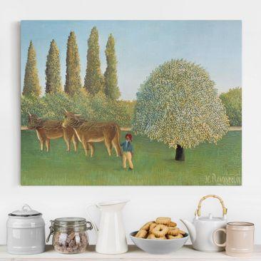 Produktfoto Leinwandbild - Henri Rousseau - Wiese (Weide) - Quer 3:4, vergrößerte Ansicht in Wohnambiente, Artikelnummer 210695-XWA