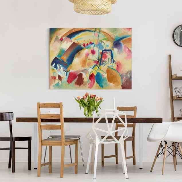 Produktfoto Leinwandbild - Wassily Kandinsky - Landschaft mit Kirche (Landschaft mit roten Flecken I) - Quer 3:4, in Wohnambiente, Artikelnummer 210784-WA