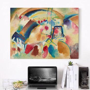 Produktfoto Leinwandbild - Wassily Kandinsky - Landschaft mit Kirche (Landschaft mit roten Flecken I) - Quer 3:4, vergrößerte Ansicht in Wohnambiente, Artikelnummer 210784-XWA