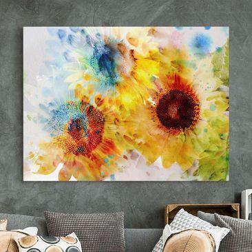 Produktfoto Leinwandbild - Aquarell Blumen Sonnenblumen - Quer 3:4, vergrößerte Ansicht in Wohnambiente, Artikelnummer 210801-XWA