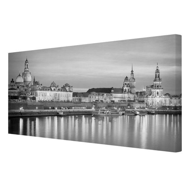 Produktfoto Leinwandbild Schwarz-Weiß - Canaletto-Blick bei Nacht II - Quer 1:2, Spiegelkantendruck rechts, Artikelnummer 211323-FR