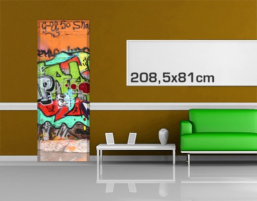 Produktfoto Kinderzimmer Türtapete selbstklebend - Graffiti I