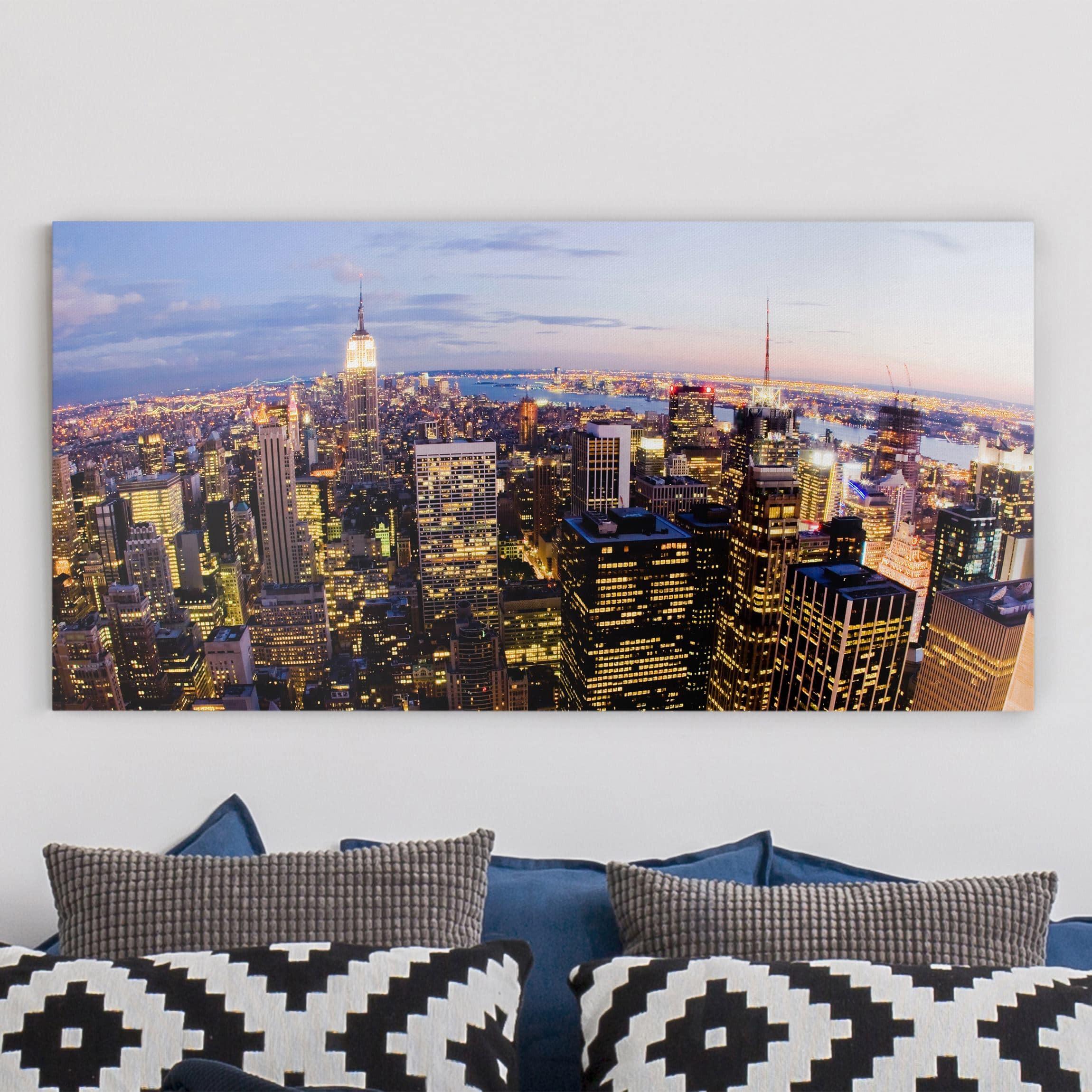 leinwandbild new york skyline bei nacht quer 1 2. Black Bedroom Furniture Sets. Home Design Ideas