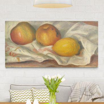 Produktfoto Leinwandbild - Auguste Renoir - Zwei Äpfel und eine Zitrone - Quer 1:2, vergrößerte Ansicht in Wohnambiente, Artikelnummer 211468-XWA