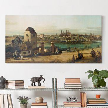 Produktfoto Leinwandbild - Bernardo Bellotto - München, von Haidhausen aus gesehen - Quer 1:2, vergrößerte Ansicht in Wohnambiente, Artikelnummer 211470-XWA