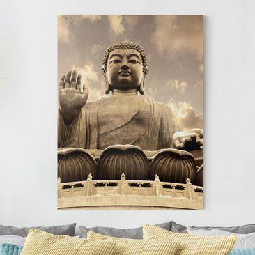 Produktfoto Leinwandbild - Großer Buddha Sepia -...