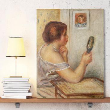 Produktfoto Leinwandbild - Auguste Renoir - Gabrielle einen Spiegel haltend oder Marie Dupuis einen Spiegel haltend mit einem Porträt von Coco - Hoch 4:3, vergrößerte Ansicht in Wohnambiente, Artikelnummer 211632-XWA