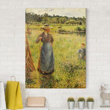 Produktfoto Leinwandbild - Camille Pissarro - Die Heumacherin - Hoch 4:3, vergrößerte Ansicht in Wohnambiente, Artikelnummer 211646-XWA