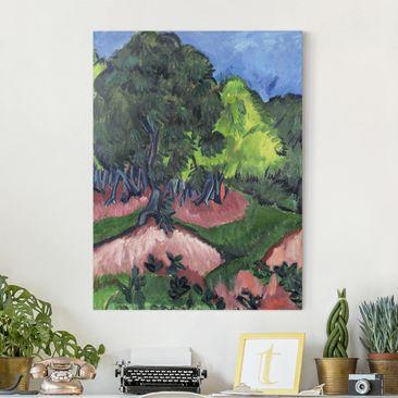 Produktfoto Leinwandbild - Ernst Ludwig Kirchner - Landschaft mit Kastanienbaum - Hoch 4:3, vergrößerte Ansicht in Wohnambiente, Artikelnummer 211673-XWA