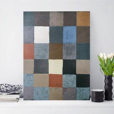 Produktfoto Leinwandbild - Paul Klee - Farbtafel (auf maiorem Grau) - Hoch 4:3, vergrößerte Ansicht in Wohnambiente, Artikelnummer 211723-XWA