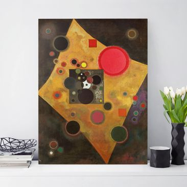 Produktfoto Leinwandbild - Wassily Kandinsky - Akzent in rosa - Hoch 4:3, vergrößerte Ansicht in Wohnambiente, Artikelnummer 211756-XWA