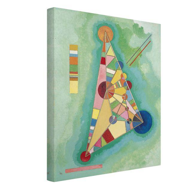 Produktfoto Leinwandbild - Wassily Kandinsky - Bunt im Dreieck - Hoch 4:3, Spiegelkantendruck links, Artikelnummer 211758-FL