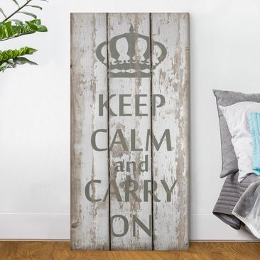 Produktfoto Leinwandbild - No.RS183 Keep Calm and carry on - Hoch 2:1, vergrößerte Ansicht in Wohnambiente, Artikelnummer 211813-XWA