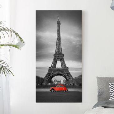 Produktfoto Leinwandbild Schwarz-Weiß - Spot on Paris - Hoch 2:1, vergrößerte Ansicht in Wohnambiente, Artikelnummer 211826-XWA