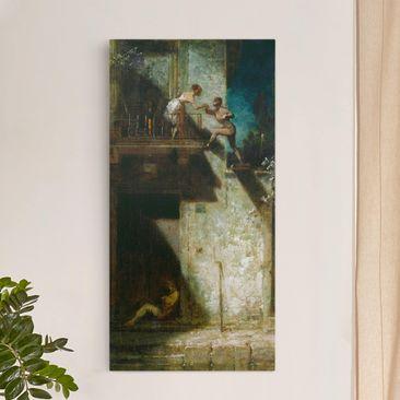 Produktfoto Leinwandbild - Carl Spitzweg - Pierrot und Columbine (Stelldichein) - Hoch 2:1, vergrößerte Ansicht in Wohnambiente, Artikelnummer 211856-XWA