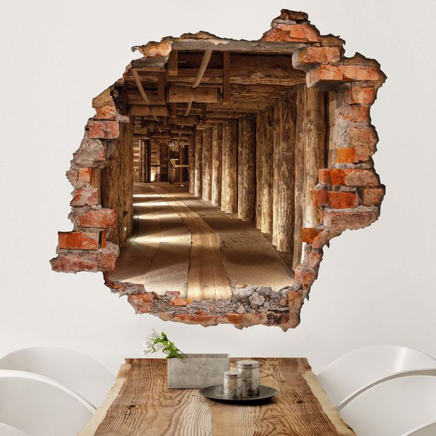 3d Wall Sticker Old Gold Mine Square Format 1 1