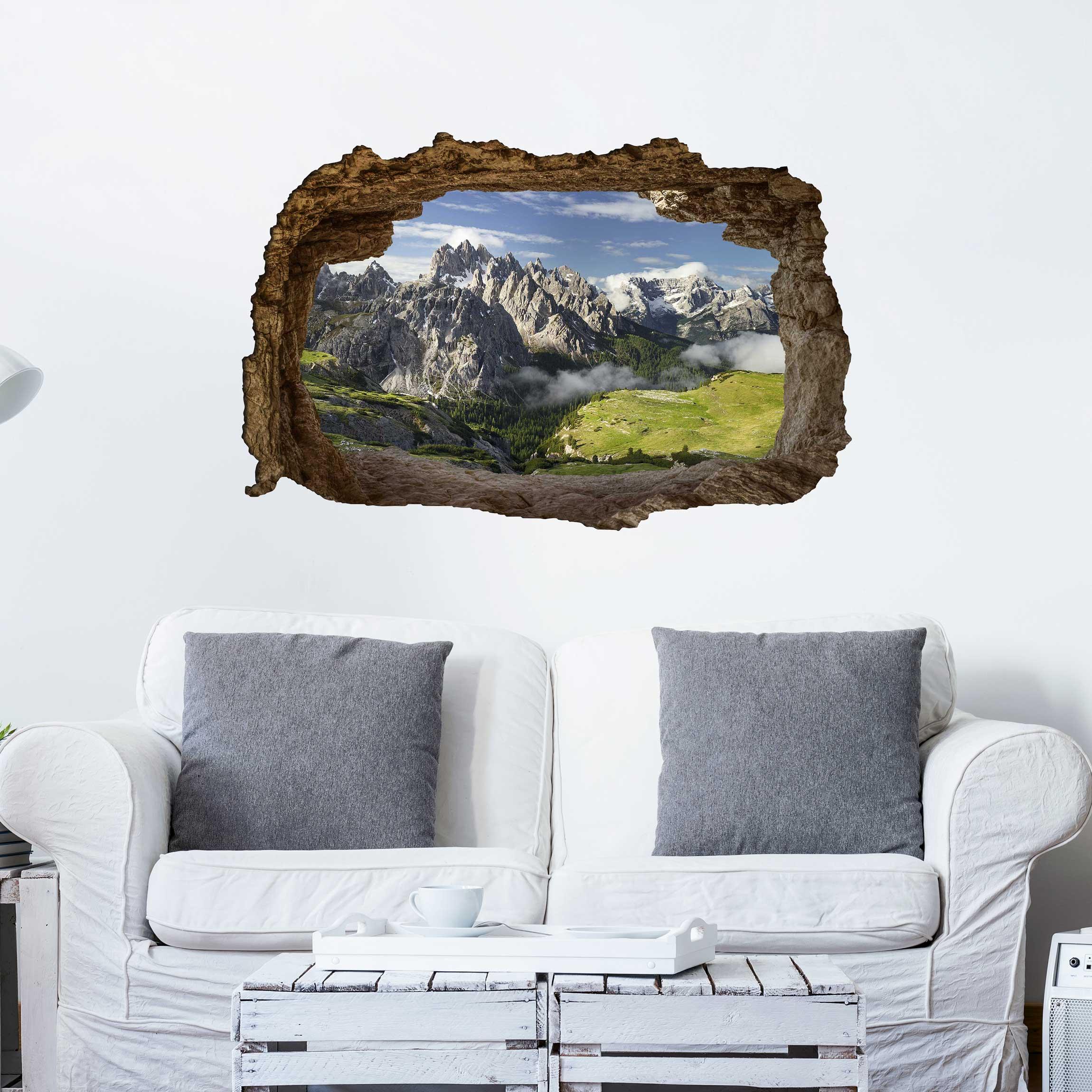 3d wandtattoo italienische alpen quer 2 3. Black Bedroom Furniture Sets. Home Design Ideas