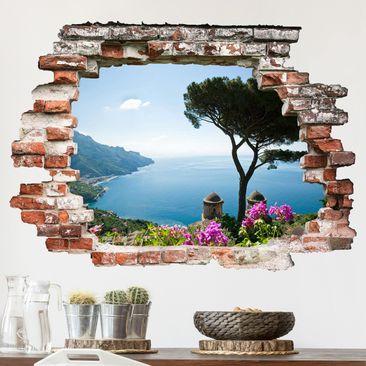 Produktfoto 3D Wandtattoo - Ausblick vom Garten aufs Meer - Quer 3:4