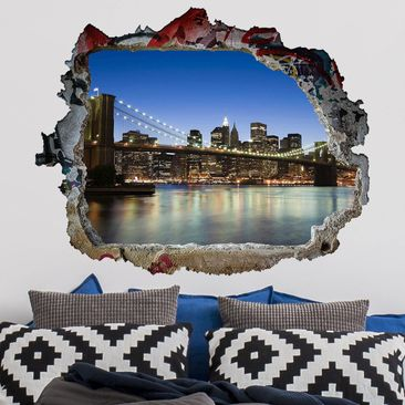 Produktfoto 3D Wandtattoo - Brooklyn Brücke in New York - Quer 3:4