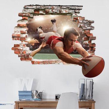 Produktfoto 3D Wandtattoo - Rugby Action - Quer 3:4