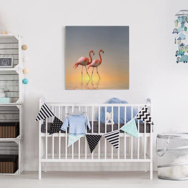 Produktfoto Leinwandbild - Flamingo Love - Quadrat 1:1, in Wohnambiente, Artikelnummer 212184-WA