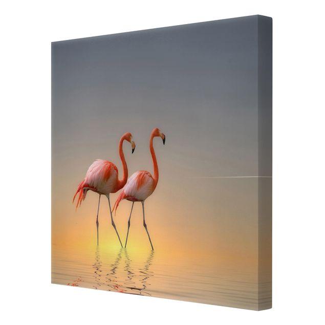 Produktfoto Leinwandbild - Flamingo Love - Quadrat 1:1, Spiegelkantendruck rechts, Artikelnummer 212184-FR