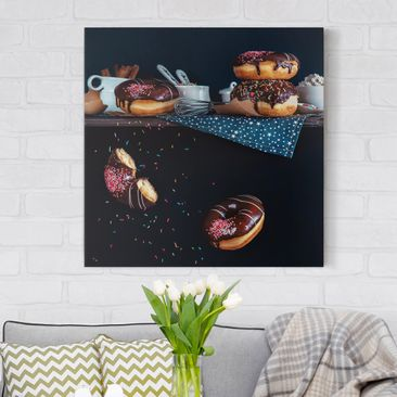 Produktfoto Leinwandbild - Donuts vom Küchenregal -...