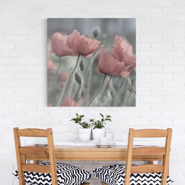 Produktfoto Leinwandbild - Malerische Mohnblumen - Quadrat 1:1, in Wohnambiente, Artikelnummer 212225-WA