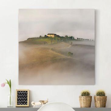 Produktfoto Leinwandbild - Morgennebel in der Toskana - Quadrat 1:1, vergrößerte Ansicht in Wohnambiente, Artikelnummer 212316-XWA