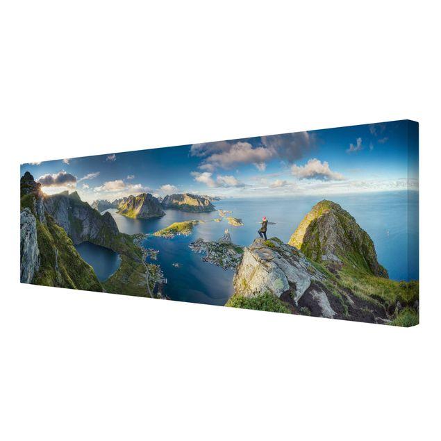 Produktfoto Leinwandbild - Fjordblick in Reinebringen - Panorama Quer, Spiegelkantendruck rechts, Artikelnummer 212435-FR