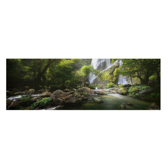 Produktfoto Leinwandbild - Gebirgsbach - Panorama Quer, Frontalansicht, Artikelnummer 212440-FF