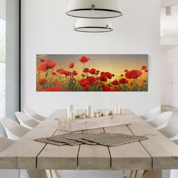 Product picture Canvas Art - Poppy Field in Sunset -...
