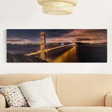 Produktfoto Leinwandbild - Golden Gate to Stars - Panorama Quer, vergrößerte Ansicht in Wohnambiente, Artikelnummer 212511-XWA