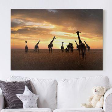 Produktfoto Leinwandbild - Giraffen Familie - Quer...
