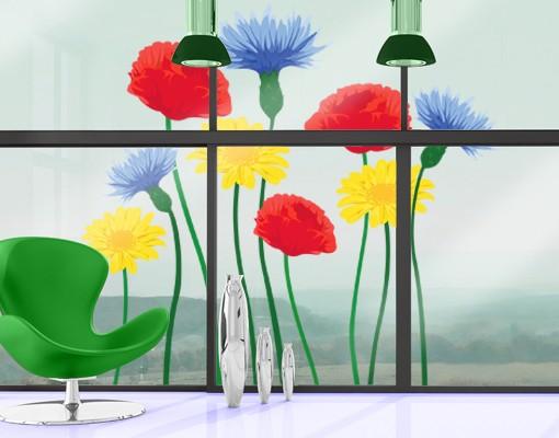 Produktfoto Fensterfolie - Fenstersticker - No.IS54 Sommerblumen - Fensterbilder Frühling