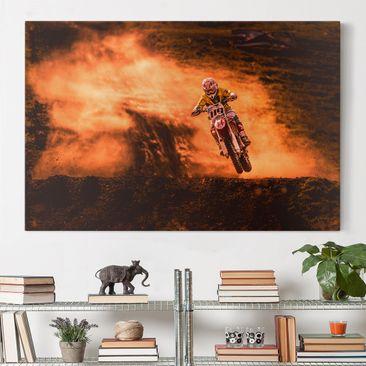 Produktfoto Leinwandbild - Motocross im Staub - Quer 2:3, vergrößerte Ansicht in Wohnambiente, Artikelnummer 212708-XWA