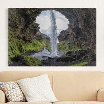 Produktfoto Leinwandbild - Verborgener Wasserfall - Quer 2:3, vergrößerte Ansicht in Wohnambiente, Artikelnummer 212733-XWA