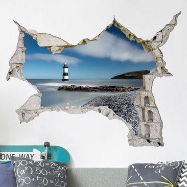 Immagine del prodotto Adesivo murale 3D - Lighthouse in Wales - orizzontale 3:4