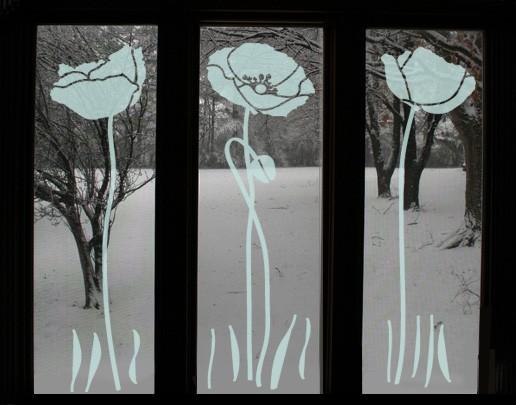 Produktfoto Fensterfolie - Fenstertattoo No.UL82 Drei Mohnblumen - Milchglasfolie