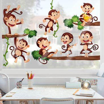 Produktfoto Fensterfolie - Fenstersticker - Affenfamilie
