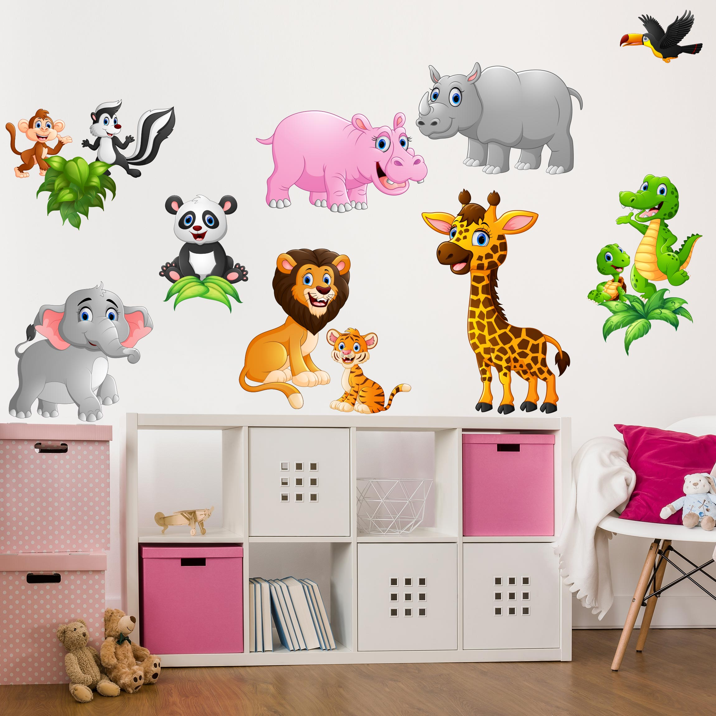 wandtattoo kinderzimmer tiere des dschungels. Black Bedroom Furniture Sets. Home Design Ideas