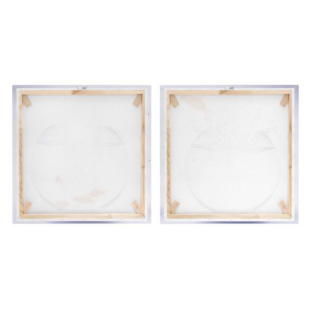 Produktfoto Leinwandbild 2-teilig - Flying Goldfish - Quadrate 1:1, Spiegelkantendruck rechts, Artikelnummer 212864-FR