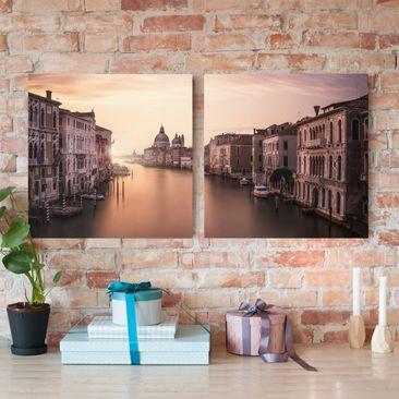 Produktfoto Leinwandbild 2-teilig - Abendstimmung in Venedig - Quadrate 1:1, vergrößerte Ansicht in Wohnambiente, Artikelnummer 212875-XWA