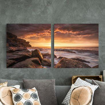 Produktfoto Leinwandbild 2-teilig - Cape Solander - Quadrate 1:1, vergrößerte Ansicht in Wohnambiente, Artikelnummer 212876-XWA