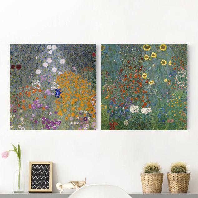 Produktfoto Leinwandbild 2-teilig - Gustav Klimt - Im grünen Garten - Quadrate 1:1, vergrößerte Ansicht in Wohnambiente, Artikelnummer 212893-XWA